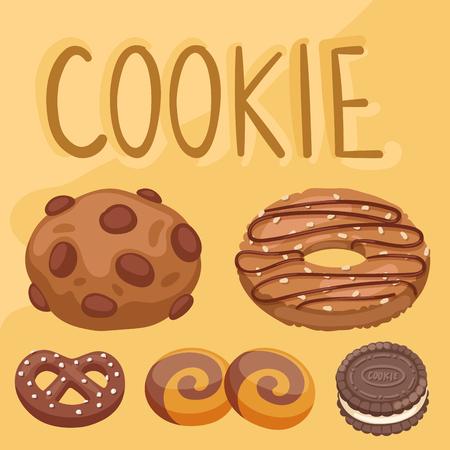 Cookie vector cakes top view sweet homemade breakfast bake food biscuit bakery cookie pastry illustration.