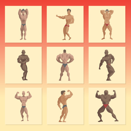 Bodybuilder sportsman vector characters muscular bearded man fitness male strong athlets model posing bodybuilding sport gym cartoon style illustration