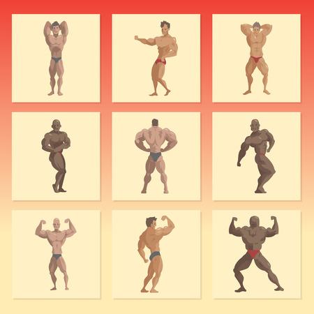 Culturista, deportista, vector, caracteres, muscular, barbudo, hombre, condición física, macho, fuerte, atletas, modelo, posar, culturismo, deporte, gimnasio, caricatura, estilo, ilustración Ilustración de vector