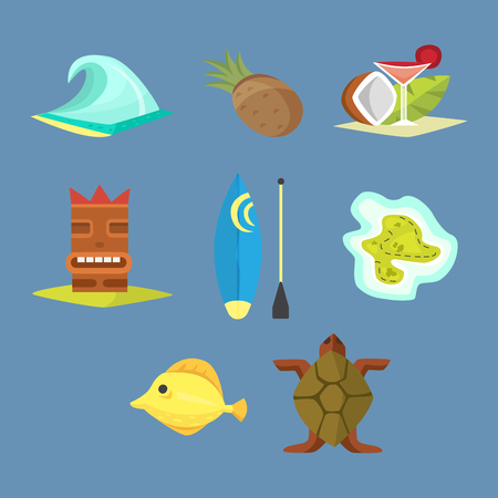 Hawaii symbols including tiki gods, totem pole, tiki torches and fish. Beautiful travel ethnic aloha party summer island beach vacation.