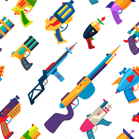 Cartoon gun vector toy blaster for kids game with handgun and raygun of aliens in space illustration set of child pistols and laser weapon seamless pattern background Çizim