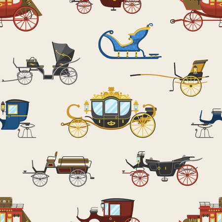 Carriage vector vintage transport with old wheels and antique transportation illustration set of royal coach and chariot or wagon for traveling seamless pattern background