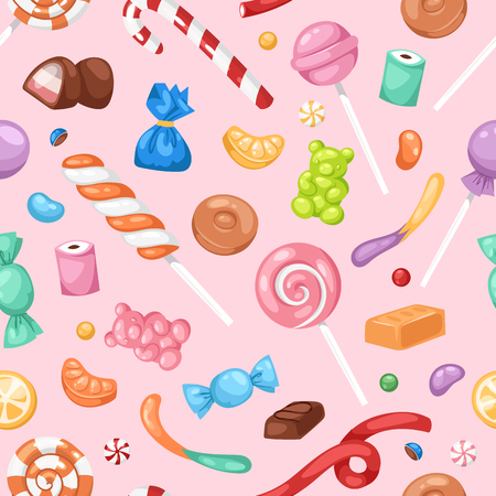 Cartoon sweet bonbon sweetmeats candy kids food sweets mega collection seamless pattern background Ilustração