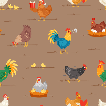 Chicken vector cartoon chick character hen and rooster in love with baby chickens or hen sitting on eggs in hen-coop illustration set of domestic birds in hen-house seamless pattern background Vettoriali