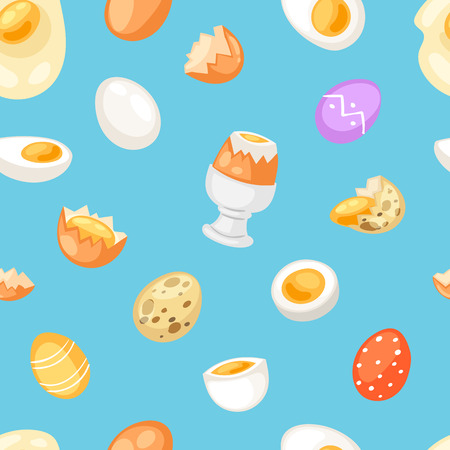 Egg vector easter food and healthy eggwhite or yolk in egg-cup or cooking omelette in frying pan for breakfast illustration set of eggshell or egg shaped ingredients seamless pattern background