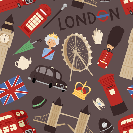 London travel icons english set city flag europe culture britain tourism england traditional vector illustration.