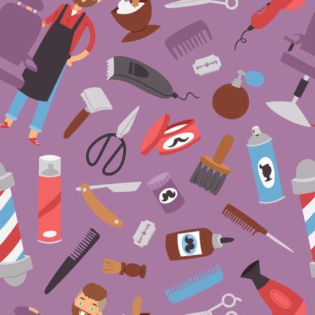 Hairdressing salon barbershop devices symbols fashion hairdresser professional stylish barber tools for cutting vector illustration.