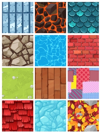 Vector building background wall texture architecture brickwall or stonewall with textured roofing tile and brickwork to build bricklaying and tiling roof backdrop or abstract pattern illustration set