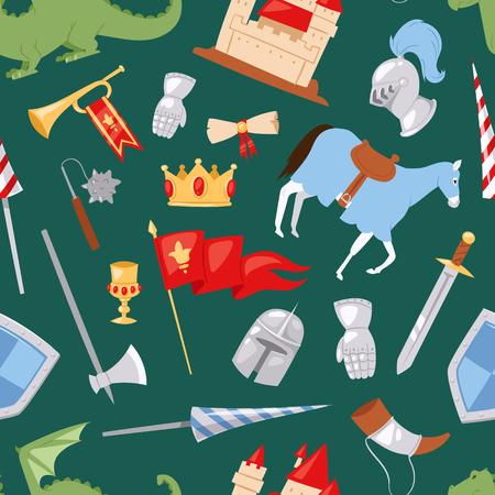 Middle Ages medieval knight Heraldic royal crest elements vintage knighthood castle vector illustration Standard-Bild - 104228363