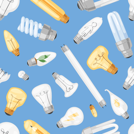 Light bulb vector lightbulb idea solution icon and electric lighting lamp cfl or led electricity and fluorescent light illustration set seamless pattern background