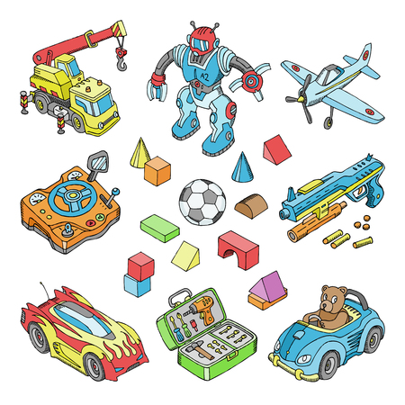 Kids toys vector cartoon boyish games in playroom and playing with car or children blocks illustration isometric set of teddy bear and plane or robot for boys isolated on white background.