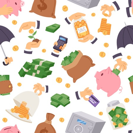 Money save vector symbols capital monetary investment concept finance icons banking safety formation invest loan strategy for profit savings bank seamless pattern background.