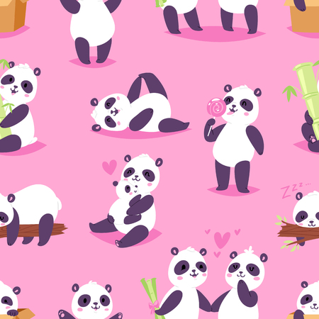 Panda vector bearcat or chinese bear with bamboo in love playing or sleeping illustration set of giant panda reading book or eating icecream isolated on background Illustration