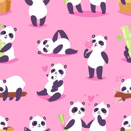 Panda vector bearcat o oso chino con bambú enamorado jugando o durmiendo conjunto de ilustración de libro de lectura de panda gigante o comiendo helado aislado sobre fondo