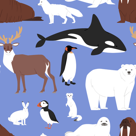 Arctic animals cartoon vector polar bear beluga penguin character collection with whale reindeer and seal in snowy winter antarctica set seamless pattern background