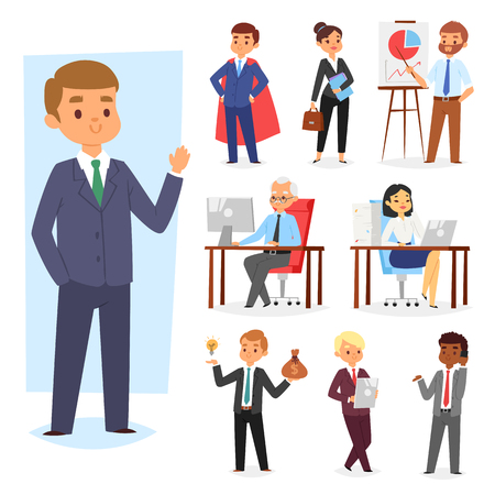 Businessman vector people work place and business worker or person working on laptop at the table in office coworker or character workplace on computer illustration set isolated on white background. 일러스트