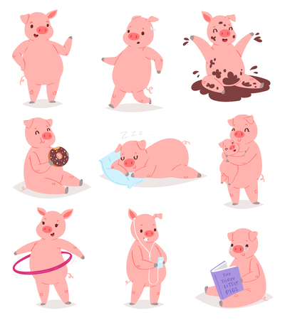 Cartoon pig vector piglet or piggy character and pink piggy-wiggy playing in puddle illustration piggish set of piggery mom hugging pigling baby isolated on white background.