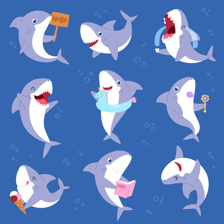 Shark vector cartoon seafish smiling with sharp teeth illustration set of fishery character illustration kids set of playing or crying baby fish isolated on marine background.