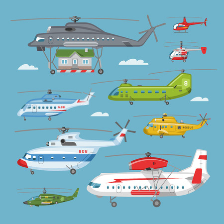 Helicopter vector copter aircraft or rotor plane and chopper jet flight transportation in sky illustration aviation set of aeroplane and airfreighter cargo with propeller isolated on background. Çizim