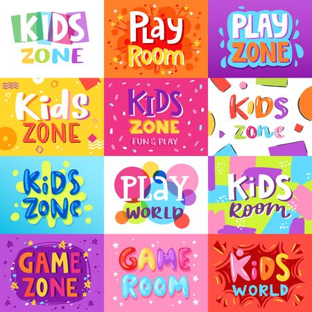 Game room vector kids playroom banner in cartoon style for children play zone decoration illustration set of childish lettering label for kindergarten decor background Иллюстрация