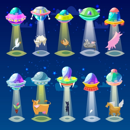 Ufo vector alien spaceship or spacecraft and spacy ship with animal character cat or pig illustration set of spaced sbeam of mystery transport in universe space isolated on background. Çizim