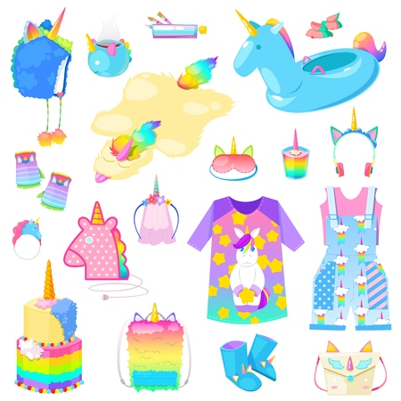 Unicorn vector cartoon kids accessories or clothing in girlish horse with horn style and colorful ponytail illustration set of fantasy child ponytailed animal bags or isolated on white background.