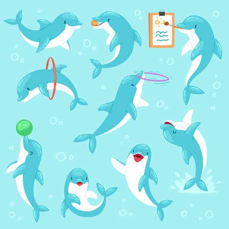 Dessin de personnage de poisson de mer de vecteur de dauphin ou jouant sous-marin et illustration de coryphène ensemble de vie marine de poissons bleus dans le delphinarium isolé sur fond de fond marin. Vecteurs