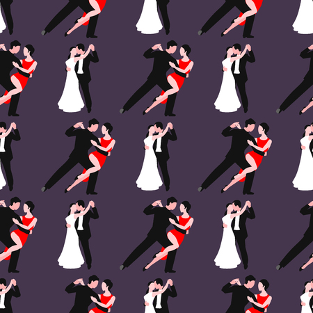 Couples dancing latin american romantic person and people dance man with woman ballroom entertainment together tango pose beauty vector illustration seamless pattern background Çizim