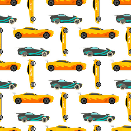 Sport speed automobile and offroad rally car colorful fast motor racing auto driver transport motorsport vector illustration. Championship extreme transportation seamless pattern background. Çizim