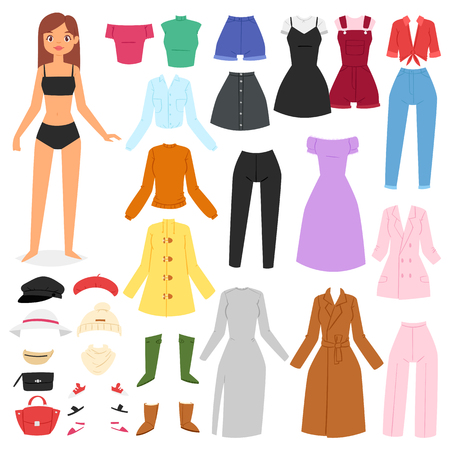 Clothes woman vector beautiful girl and dress up or clothing with fashion pants dresses or shoes illustration girlie set of female cloth hat or coat isolated on white background.