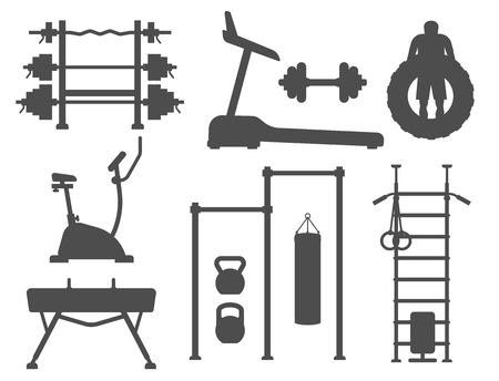 Fitness gym club vector silhouette icons. Athlet and sport activity body tools. Wellness dumbbell silhouette track gymnastics active health lifestyle equipment.