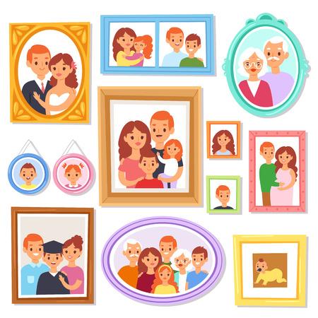Cornice vettoriale inquadratura foto o foto di famiglia sulla parete per la decorazione insieme dell'illustrazione del bordo decorativo dell'annata per la fotografia con bambini e genitori isolati su priorità bassa bianca.