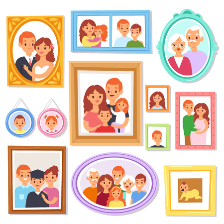 Cuadro de encuadre de vector de marco o foto de familia en la pared para la ilustración de decoración Conjunto de cenefa decorativa vintage para fotografía con niños y padres aislados sobre fondo blanco.