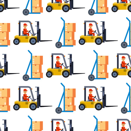 Warehouse seamless pattern background with shipping truck and delivery flat elements vector illustration. Storage business industry container merchandise transport.