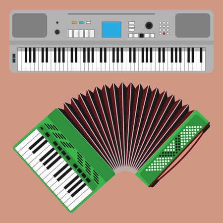 Keyboard musical instruments vector classical piano melody studio acoustic shiny musician equipment illustration. Orchestra composer electronic sound vector tool. Çizim