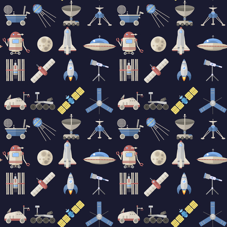 Stylish space ship seamless pattern background astrology radar cosmos universe technology meteor science shuttle astronaut rocket satellite vector.