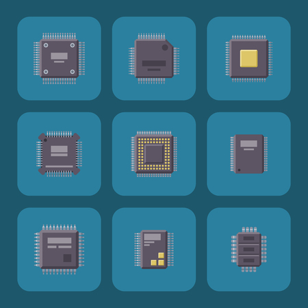 CPU microprocessors microchip isolated vector illustration. Hardware component equipment. Integrated connection communication.
