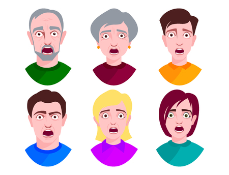 People horror faces vector extremely surprised young shock portrait frightened character emotions afraid expression person with open mouth illustration. Stress male and female head terrified eyes.