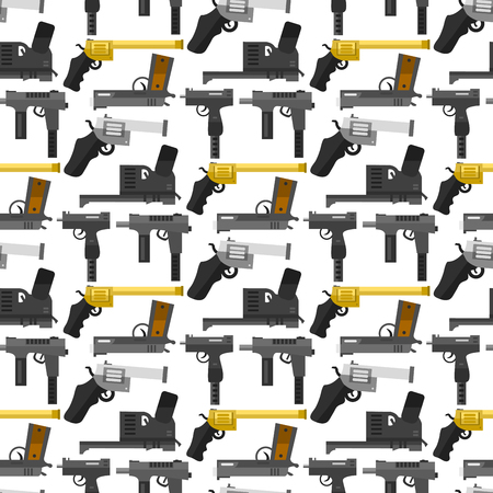Weapons guns pistols submachine assault rifles seamless pattern background handgun bullets vector illustration.