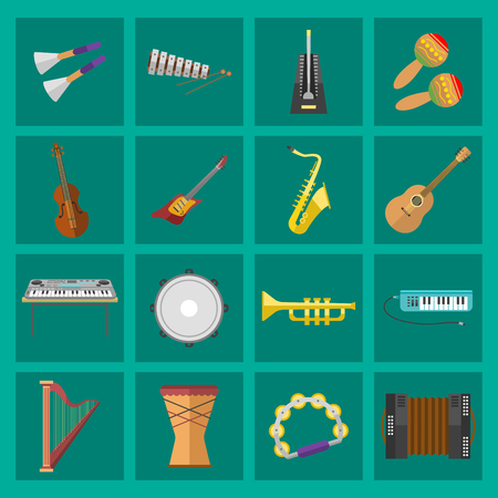 Collection of musical instruments and objects. Audio studio set. Vector illustration speaker microphone electronic recording. Producer record volume tools.