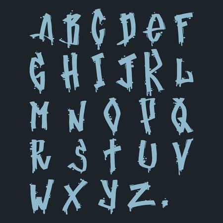 Hand drawn grunge font paint symbol design detailed vector alphabet graffiti text brush graphic ink. Graffiti grunge font style texture typeset dirty art artistic. Çizim