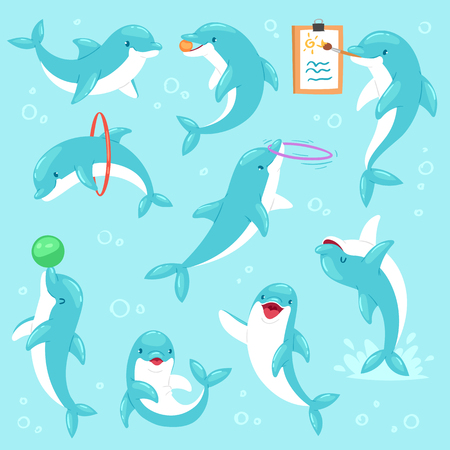 Dolphin vector seafish character drawing or playing undersea and dolphinfish illustration sealife set of blue fish in dolphinarium isolated on seabed background.