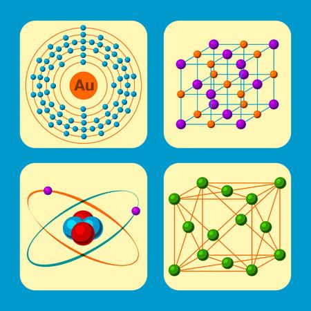 Molecular structure medical illustrations. Evolution life biotechnology microbiology vector formula. Chemist digital dna physics information elements. Çizim