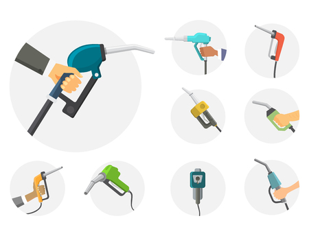 Filling gasoline station pistol in people hands refinery industry refueling petroleum tank service tool vector illustration Stock Illustration - 104705922