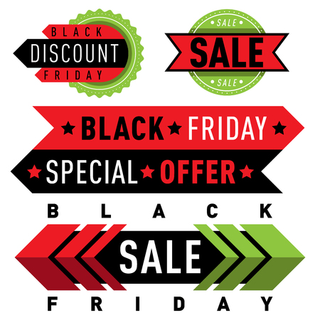 Sale vector badge stickers lables percent discount shopping saledays black friday discount special webshop offer symbols illustration Çizim