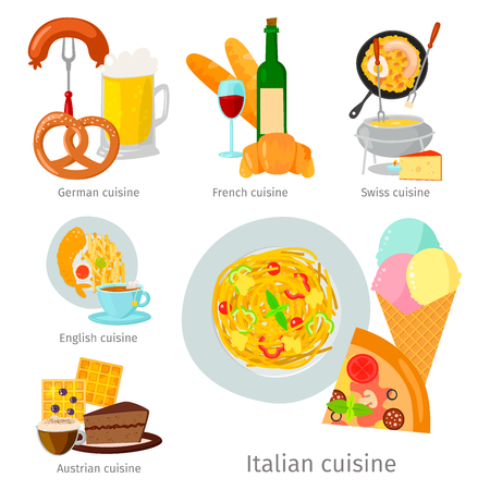 European vector food cuisine tasty dinner food showing delicious luxury Italy rome rustic snack plate flat illustration.