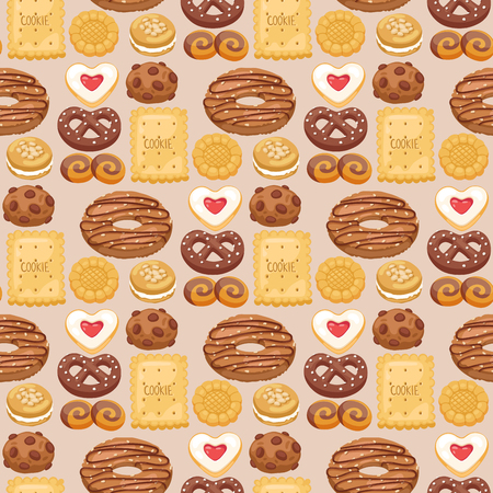 Cookie cakes top view sweet homemade breakfast bake food biscuit pastry vector illustration. Baked delicious chocolate tasty snack seamless pattern background.