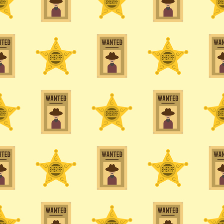 Shefiff badge star american western authority seamless pattern background vector illustration. Texas cowboy security detective elements.