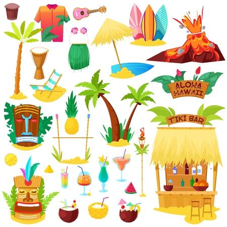 Hawaii vector playa hawaiana con palmeras tropicales y hamacas o exóticos cócteles afrutados en conjunto de ilustración de vacaciones de verano de máscara de hula tiki y surf iconos aislados sobre fondo blanco.