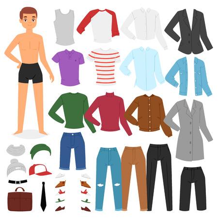 Homme vêtements vecteur personnage garçon habiller des vêtements avec des pantalons de mode ou des chaussures illustration garçon garçon ensemble de tissu masculin pour couper le chapeau ou T-short isolé sur fond blanc.
